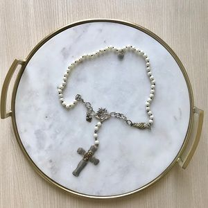 Vintage Pearl St Christopher Cross Necklace